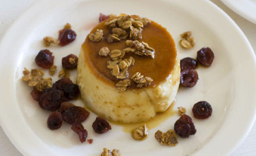 Cranberries + flan = one magical dessert