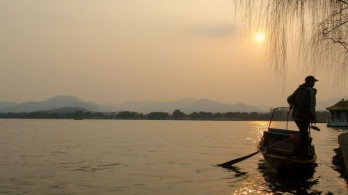 Hangzhou's mesmerising West Lake at Sunset.