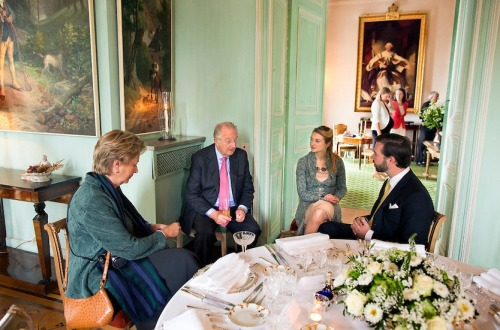 Albert and Paola of Belgium and Guillaume and Stéphanie of Luxembourg.