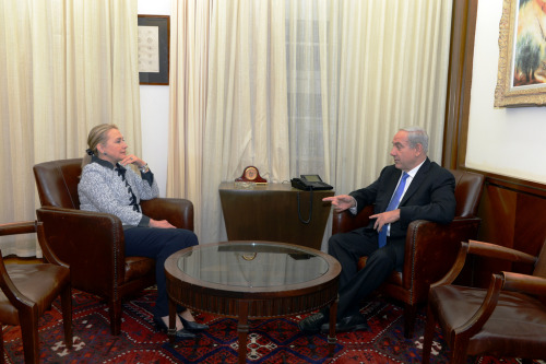 U.S. Secretary of State Hillary Rodham Clinton meets with Israeli Prime Minister Benjamin Netanyahu at the Prime Minister's office in Jerusalem, November 20, 2012. [State Department photo by Matty Stern/ Public Domain]