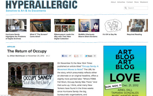 Great new article on Occupy Sandy, here!