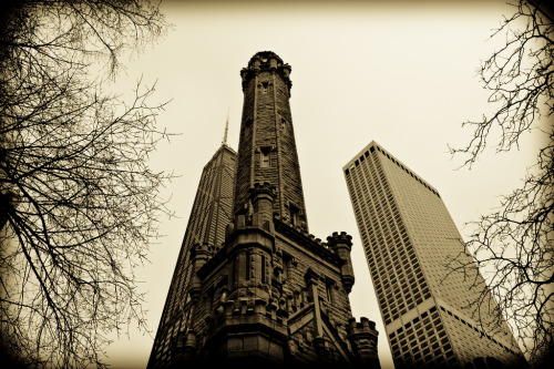 Old and New Chicago by Gregory O'Shea Photography The old Water Tower before the Water Tower Place and John Hancock Center.