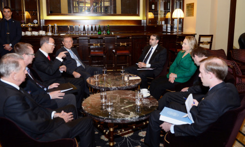U.S. Secretary of State Hillary Rodham Clinton meets with with UN Secretary-General Ban Ki-moon at the King David Hotel in Jerusalem, November 21, 2012. [State Department photo by Matty Stern/ Public Domain]