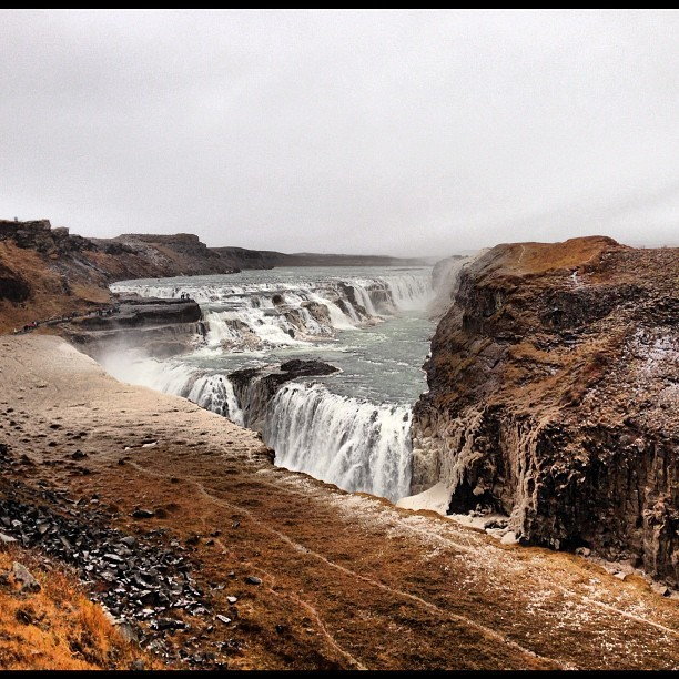 The Icelandic Niagara Falls. It's beautiful here. (at Gullfoss Waterfall)