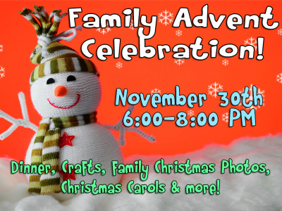 FAMILY ADVENT CELEBRATION - NOV. 30TH:  The St. Matthew's Children's Council invites you to our Advent Celebration on Friday, Nov. 30th from 6:00 – 8:00 PM.  Children's Council will host dinner and following dinner we will celebrate the advent season with music, family Christmas photos, crafts, and more.  Everyone is welcome!