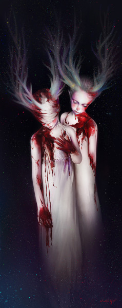 Elk. ————- These girls were based on the paints of Gottfried Helnwein,but it isn't a paintmanipulation,it is just an exercise and shall not be used for any commercial purpose.I only want to share it with you and thank you for your kind words. 100% Painting(tool: photoshop). (exercise III)