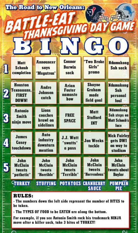 houstonpress:  (via Texans-Lions: Thanksgiving Day Special BATTLE-EAT Bingo EATING Card)