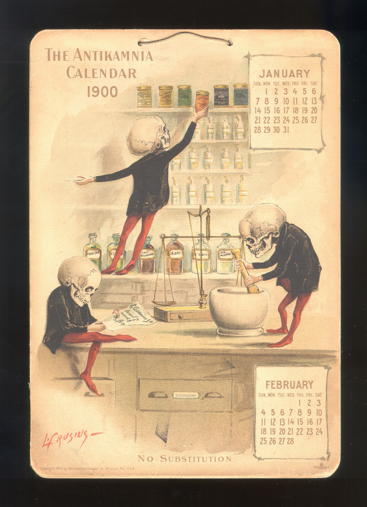 "Antikamnia Calendars and the Birth of Tylenol These mischievous little skeletons helped lead us to one of today's most successful pain relievers.   The Antikamnia company marketed an analgesic (pain-relieving) powder to pharmacists and druggists of the late 19th and early 20th centuries using these rather morbid calendars. The name of the company actually means ""opposed to pain"". Antikamnia Chemical Company was later shut down after failing to disclose the active ingredient of their pain-relieving products: Acetanilide. Not only was it illegal (as it is now) to fail to label drugs correctly, but acetanilide was known to impair red blood cells' ability to release oxygen to tissues. That's not the kind of drug you want on the market, obviously. But Anitkamnia was an effective pain reliever, even if you'd go blue after taking it. One thing many people don't realize about pharmaceutical chemicals is that they are metabolized and modified by human biochmistry. For many of them, the compound in the pill is useless, and they require breakdown or modification to become active. It wasn't until nearly half a century later that Nobel Prize-winning biochemist Julius Axelrod discovered that the primary metabolic product of acetanlilide is a compound called paracetamol. Of course, you may know paracetamol by its other chemical name, para-acetylaminophenol … or Tylenol. Check out the rest of the Antikamnia calendars at Retronaut."