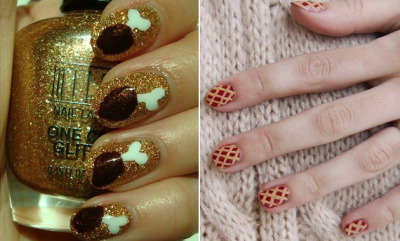 glamour:  Crazy Thanksgiving-inspired nail art.