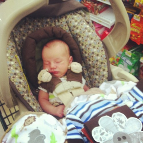Braylen sleeping while we are at JoAnns #baby #sleepy #adorable