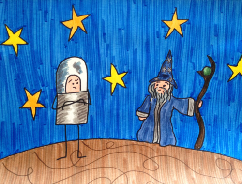 Captain Spaceman meets THE WIZARD OF URANUS.   Dude, you should really change your name.