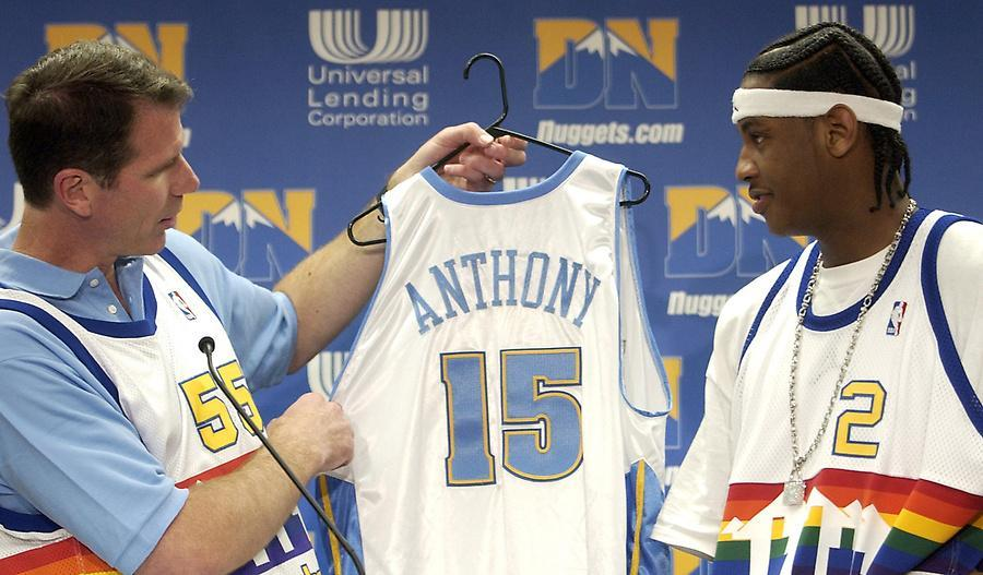 Carmelo Anthony, wearing an Alex English throwback jersey, & Kiki Vandeweghe, wearing his own throwback jersey, at an introductory presser