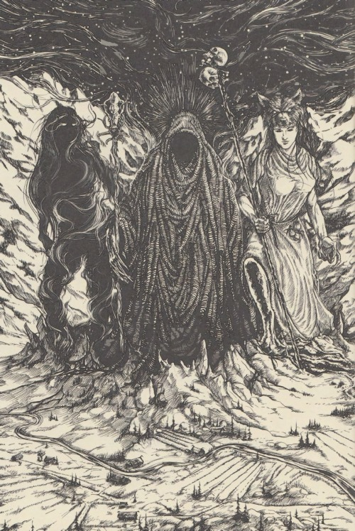 """Gullveig, Heidr, and Aurboda ascend from Nifelheim"""