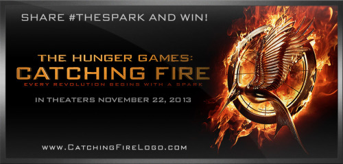 Become a part of HUNGER GAMES history by sharing #TheSpark. Twelve lucky winners from the first 12 million fans will be featured in the credits of THE HUNGER GAMES: CATCHING FIRE, in theaters November 22, 2013. Every revolution begins with a spark. Seriously though isn't that just freaking sick?!