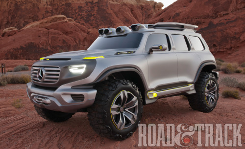 Heading to the 2012 Los Angeles Auto Show—Mercedes-Benz Ener-G-Force Concept's punchy design concept ponders the question: Could the G-Class survive through 2025? (Source: Road & Track)