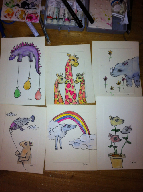 a few of the wittle watercolors i did as gifts for a friend's kickstarter.