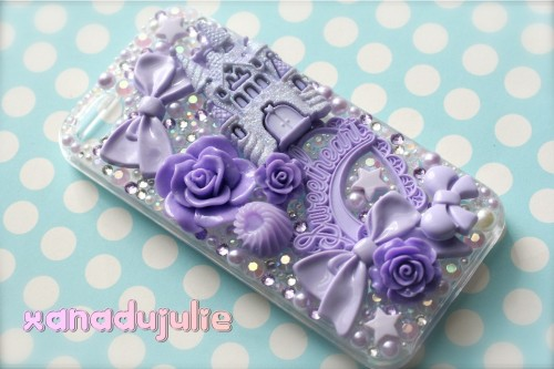 My new purple SUPA KAWAII GLITZY GLAM for my new iphone 5 ♡♡♡
