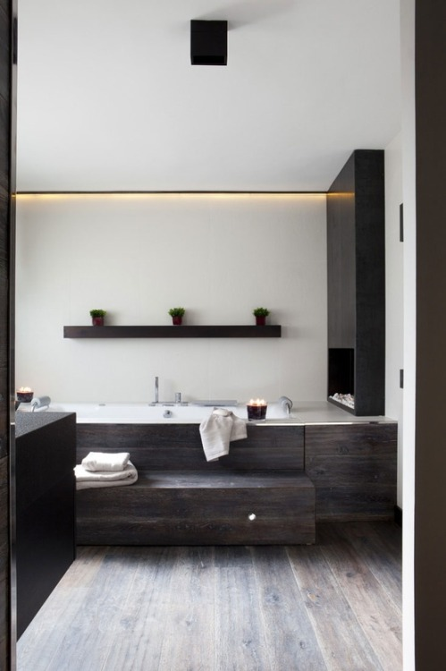 justthedesign:  Bathroom Timber And Stainless Steel