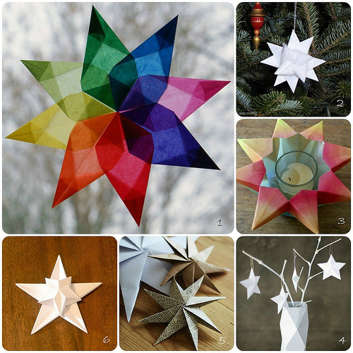 diychristmascrafts:  DIY Roundup of Folded Paper Star Tutorials from All Things Paper here. If you read my other blog Truebluemeandyou, you know that I am paper folding challenged - but the tutorials she links to have really good instructions - especially #1.