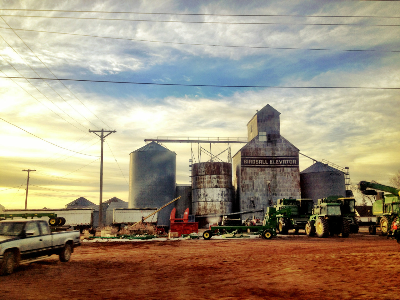 The grain mill at the end of the street in Elgin, North Dakota.