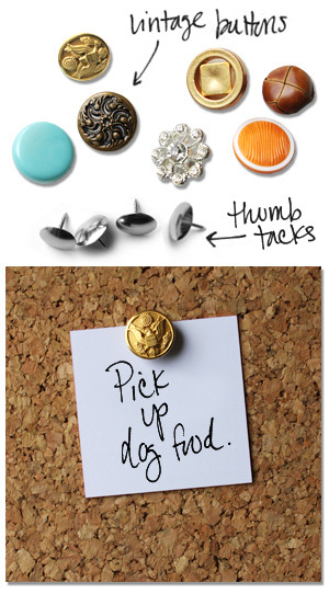 Vintage Button Thumbtacks (via What Katie Made)