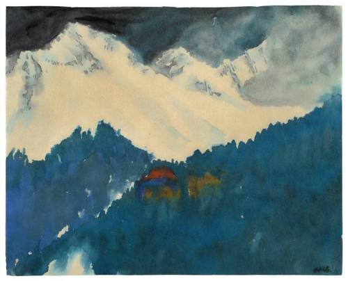 amare-habeo:  Emil Nolde (1867 – 1956) Alps Mountain Landscape,  1930 watercolour on Japan paper