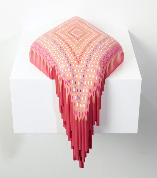 Fantastic sculptures made of carved coloured pencils, by Lionel Bawden.