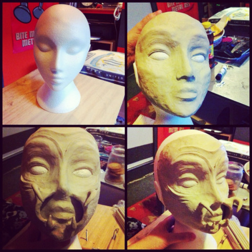 Started practising sculpting clay, ended up with a weird alien face.
