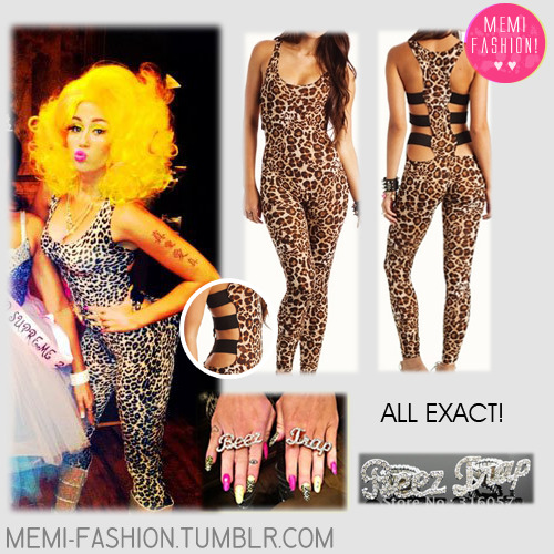 Jumpsuit: Go Jane LEOPARD STRAPPY BACK JUMPSUIT - EXACT! Rings: Ali Express Newest Nicki Minaj BEEZ IN THE TRAP Ring set Jewelry,silver color,Free Shipping by Express - EXACT! CLICK HERE FOR THE BOOTS
