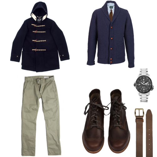 Coat: Gloverall Mid Length Monty Cardigan: Barbour Baltic Cardigan Shirt: Gitman Vintage stripe oxford Belt: Horween for Haberdash Chromeexcel Pants: Grown & Sewn Independent or Hertling for Haberdash Boots: Wolverine 1k Addison Tie: Altea for Haberdash