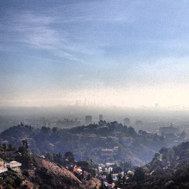 Hazy LA skyline view from Runyon Park Trail this morning - #runyon #runyonpark #runyontrail #hikela #hike #myhollywoodhood #la #losangeles #morningworkout #downtown #skyline #downtownla #hollywood #hollywoodhills #hiking #dowork #goodmorning (at Runyon Canyon Park)