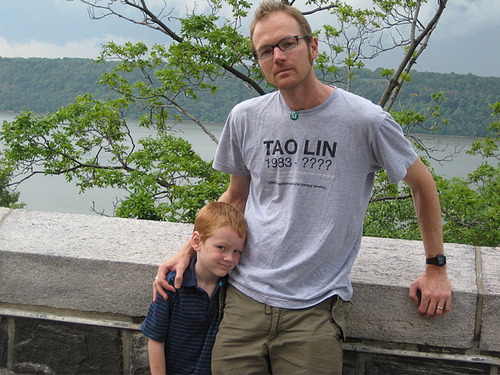 Matthew Rohrer wearing Tao Lin shirt