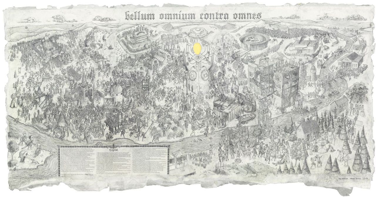 Bellum Omnium Contra Omnes, William Powhida and Jade Townsend, Graphite on paper, 9' x 5', 2012.  Private Collection.  Exhibited at Poulsen Gallery, DE. Print edition will be available through the artists' galleries.  Click through for high-resolution image.