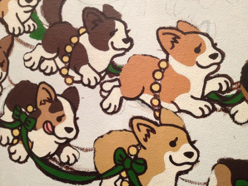 amandabeardart:  Painting corgis. What else is new?