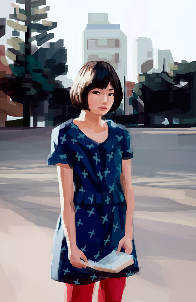 Cute girl study #2 feat. unstoppable square brush