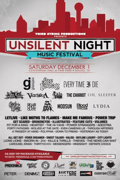 UNSILENT NIGHT MUSIC FESTIVAL!! Dallas, Tx on December 1st. 54 artists. 3 stages. INFO & TICKETS: http://bit.ly/RYSOmd