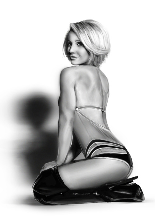 Study (Jamie Eason) Took about 3/4 hours overall. Most of that time was spent trying to make her face look how I wanted it. I like how I painted the boot :)