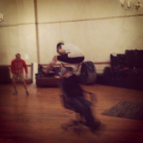 tayjardine: Previously on We Are The Wonder Crowd… @robchianelli jumped @yoakatt on a chair.