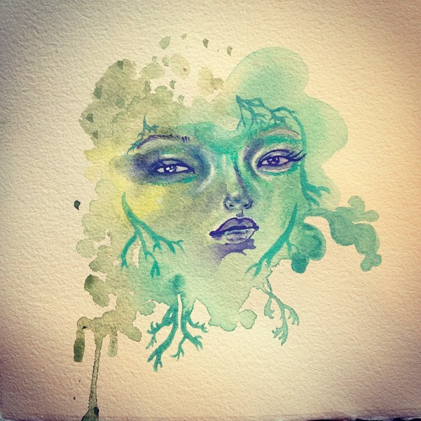 #moss #lichen spirit ….painting experiment #art #illustration #face #girl #mumbot