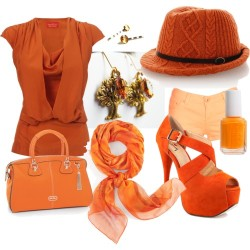 Fashion: Stylish Orange por mariaplb con denim shortsVivienne Westwood orange silk blouse / Denim shorts, $7.88 / Luichiny platform heels / Folli Follie vintage leather satchel / Hermès scarve / Inverni orange fedora, $170 / Essie  nail polish / Golden Trees and Amber Topaz Earrings by LadyRebelDesigns on Etsy / Yellow Topaz Bobby Pins Swarovski Crystal Hair Pins Princess Cut…