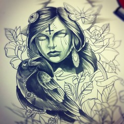 willemxsm:  Quick study for tomorrows tattoo hopefully!! #tattoo #crow #girl