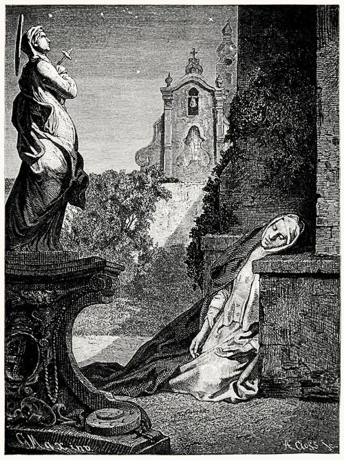 Die Nonne (The nun).  G. Max, from Gedichte (Poems), by Ludwig Uhland, Stuttgart, circa 1845 (?).  (Source: archive.org)