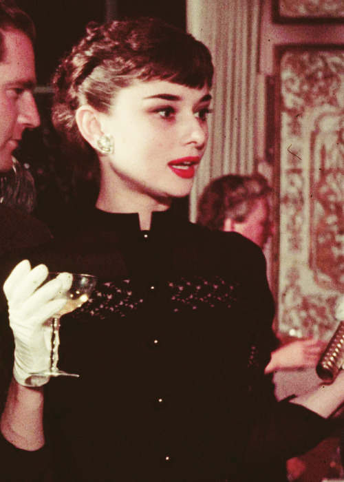 Audrey Hepburn at a party in New York.