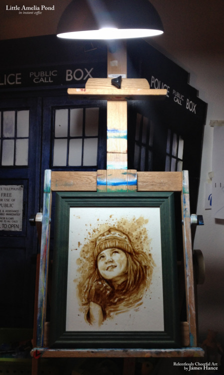 jameshance:  Latest Original Painting - 'Little Amelia Pond' (Instant coffee) Yay! Here she is - also I entirely forgot I'd photographed her outside the TARDIS until I went to edit the pic - so there ya go! 3 day eBay listing right here, starting at one, single copper bone… Now, call it the caffeine in the air, or the fact that I blend the paint with my fingers and it's probably soaked into my skin and blood and I'm 90% coffee at this point, but I'm going to paint something else - right now! Wee! <3 My site / My Facebook / Original Art on eBay