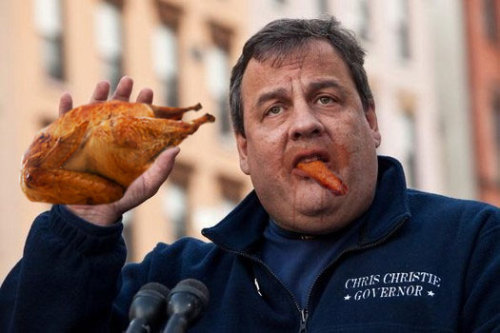 Chris Christie enjoys a turkey..or four
