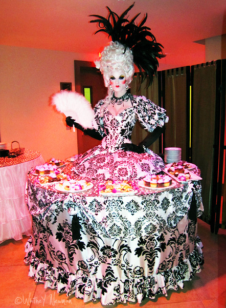 blackandwhitestriped:  Ivy Winters as Marie Antoinette strolling table