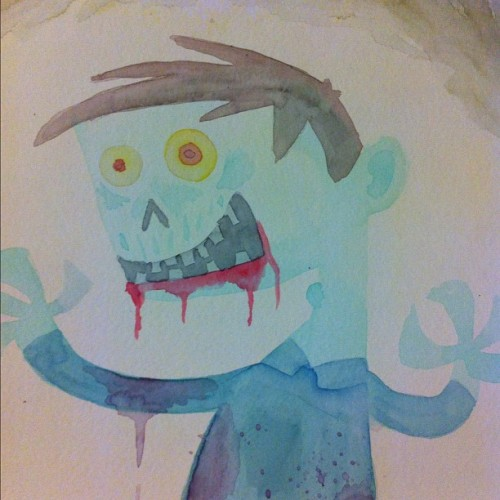 Going through the old studd and found an old #zombie #watercolor #blood #painting #brains