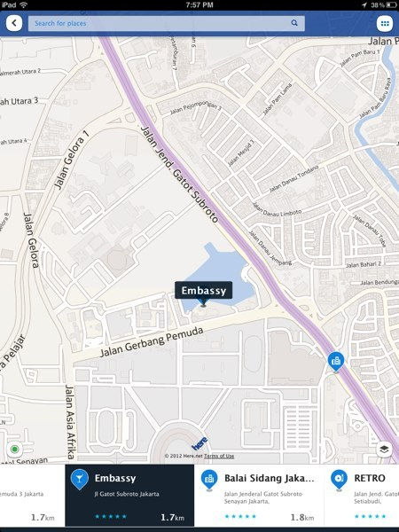Nokia launched its HERE Maps app a few days ago on the App Store. While it's feature packed, many of them aren't exactly functioning, at least not in Jakarta. Traffic reports for example, is still better on Waze (doesn't actually show up on HERE), and public transport only covers trains, no buses. While the map is great, roads are all there, and you can save a map to use offline, you'll be excused thinking that you're still living in the past. Thing is, the points of interests listed on HERE reflects a time long gone. Old clubs, buildings, and businesses, long shut down still show up as recommendations. Are they even using the same data points as Nokia maps on Windows Phone? Or perhaps it's a way for Nokia to get people to switch to Windows Phone so people use the proper Nokia Maps app with the correct data? Or maybe Nokia is still living in the past?