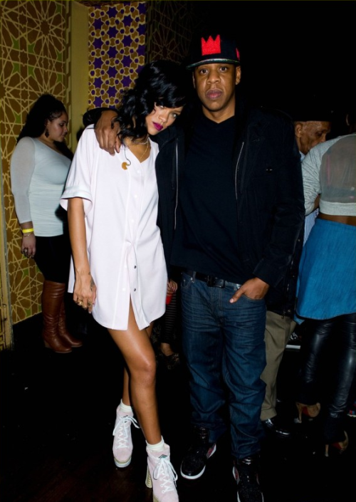 Jay-Z and Rihanna backstage at Webster Hall after the final concert on her 777 Tour.