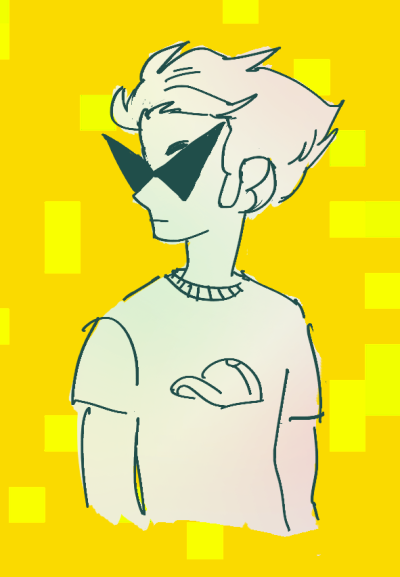 dirk for art trade with moriii also i'm p sure you ship dirk/ar so here's a drawing of dirk on a hot date with his boyfriend glasses. he's wearing his best wife beater.